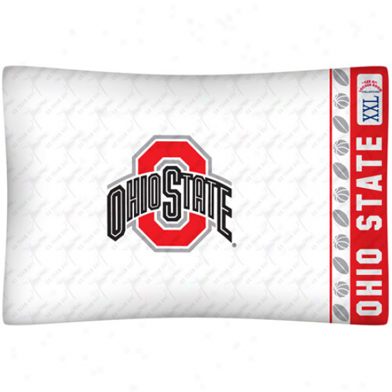 Ohio State Buckeyes White Jersey Pillow Case