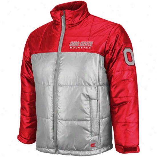 Ohio State Buckeyes Youth Scarlet-gray Half Dome Full Zip Bubble Jacket
