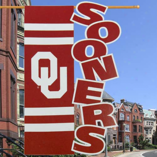 """oklahoma Sooners 28"""" X 44"""" Crimson-cream Cut-out Applique Banner Flag"""