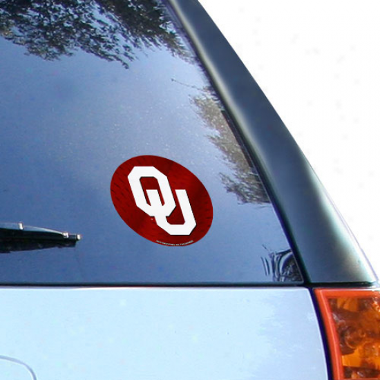 """oklahoma Sooners 4.5"""" Crimson Team Logo Round Vinyl Decal"""