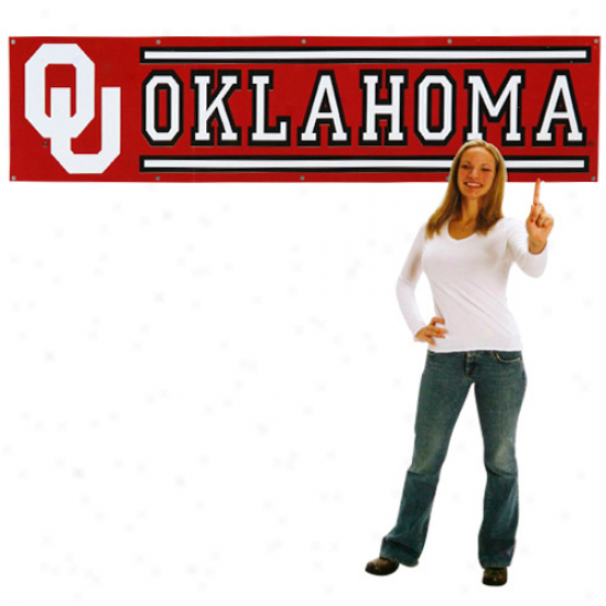 Oklahoma Sooners 8' X 2' Crimsson Applique Banner