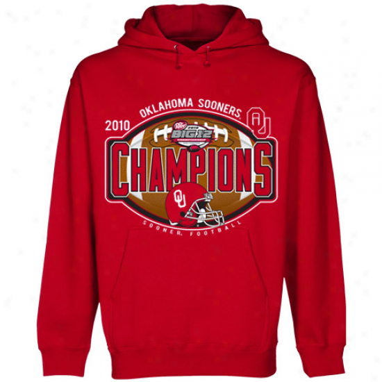 Oklahoma Sooners Crimson 2010 Big 12 Champions Official Locker Room Pullover Hoody Sweatshirt
