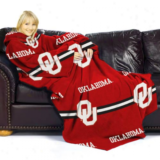 Oklahoma Sooners Crimson Striped Comfy Throw
