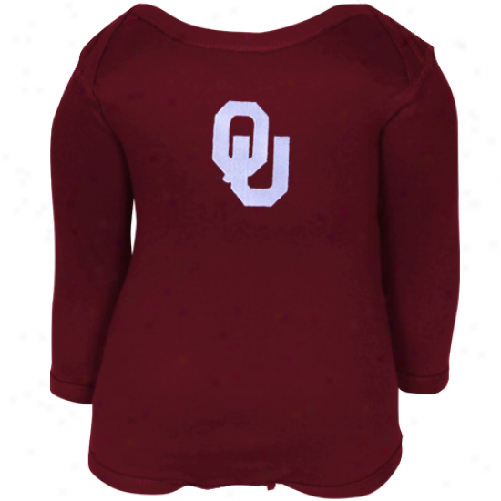 Oklahoma Sooners Babe Crimson Big Bambino Long Sleeve Cresper
