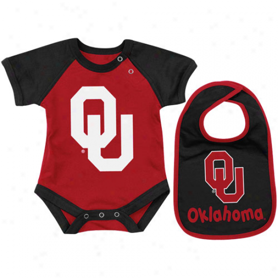 Oklahoma Sooners Infant Derby Creeper & Bib Set - Crimson/black