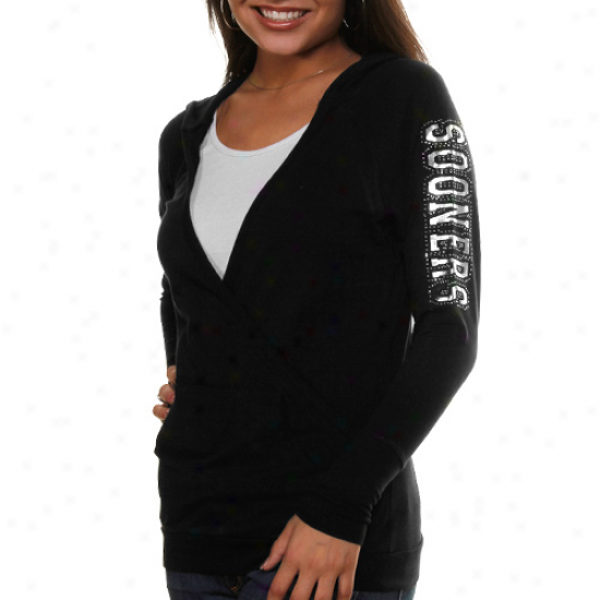 Oklahoma Sooners Ladies Black Crossover Pullover Hoodie Sweatshirt
