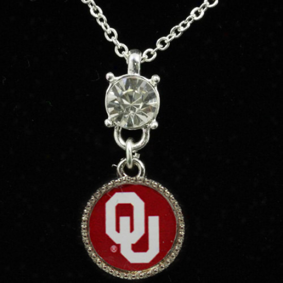 Oklahoma Sooners Ladies Crystal Post Necklace