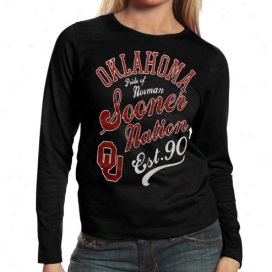 Oklahoma Sooners Ladies Splashy Long Sleeve T-shirt - Black