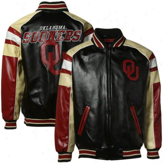 Oklahoma Sooners Youth Black 2010V arsity Full Zip Pleather Jacket