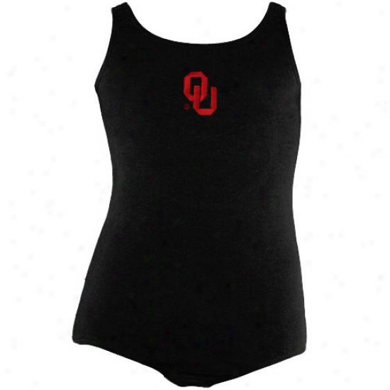 Oklahoma Sooners Youth Girls Black Tank Leotard
