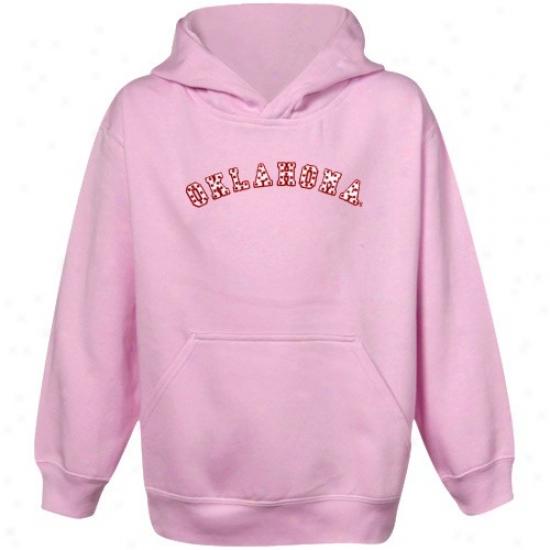 Oklauoma Sooners Youth Pink Polka Variegate Pullover Hoody Sweatshirt
