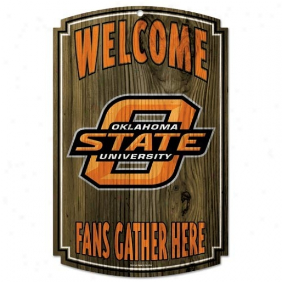 """oklahoma State Cowboys 11"""" X 17"""" Wood Sign"""