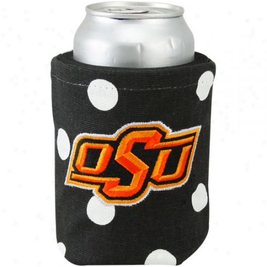 Oklahoma State Cowboys Black Polka Dot Canvas Can Coolie