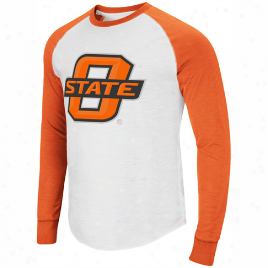 Oklahoma State Cowboys Pressbox Slub Raglan Long Sleeve T-shirt - White/orange