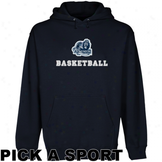 Old Dominion Monarchs Custom Sport Logo Applique Pullover Hoodie - Navy Blue