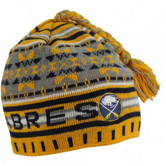 Old Time Hockey Buffalo Sabres Gold Fission Tassel Knit Beanie