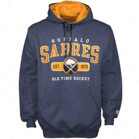 Old Time Hockey Buffalo Sabrrs Navy Blue Gauge Pullover Hoodie Sweatshirt