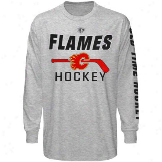 Old Time Hockeey Calgary Flames Gray Glpper Long Sleeve T-shirt
