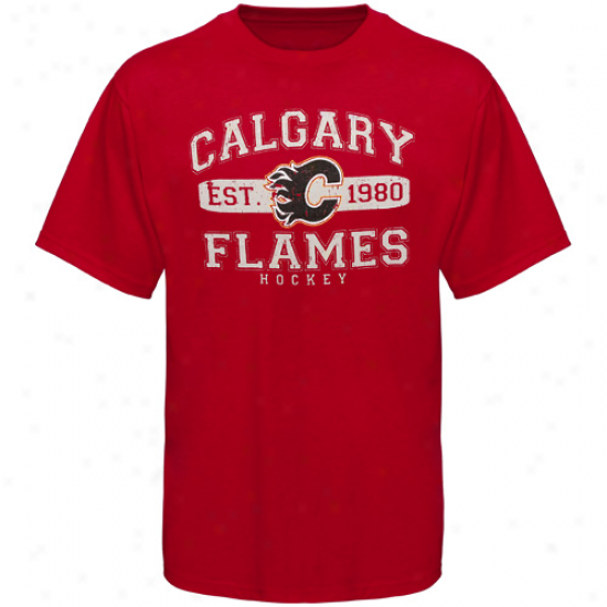 Old Time Hockey Calgary Flames Youth Cleric T-shirt - Red