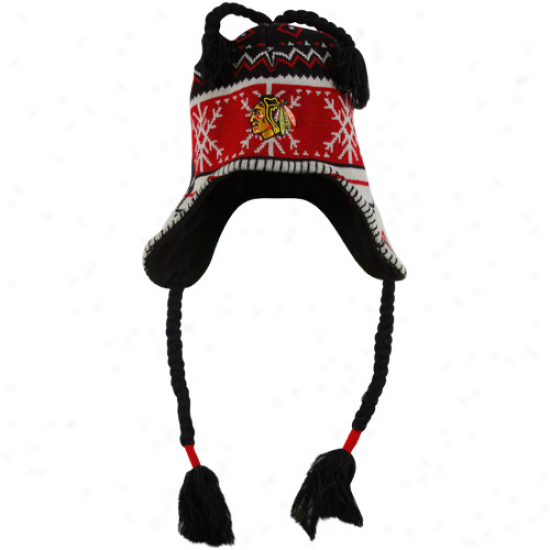 Old Time Hockey Chicago Blackhawks Black-red Aero Tassel Knit Beanie