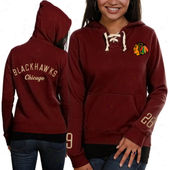 Old Time Hockey Chicago Blackhawks Ladies Rsd Queensboro Lace-up Pullover Hoodie Sweatshirt