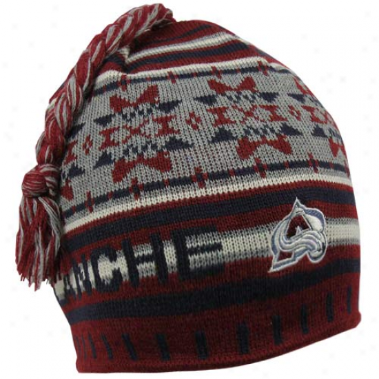 Old Time Hockey Colorado Avalanche Burgundy Fission Tassel Knit Beanie