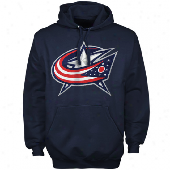 Old Time Hockey Columbus Blue Jackets Navy Blue Big Primary Logo Pulolver Hoodie Sweatshirt