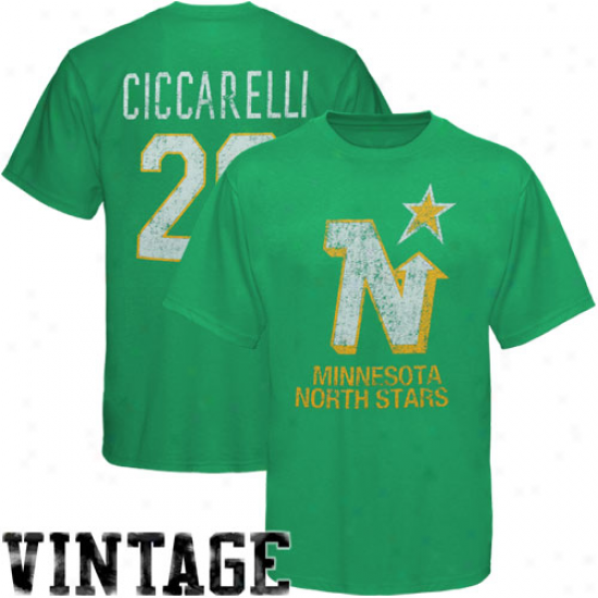 Old Time Hockey Dino Ciccarelli Monnesota No5th Stars #20 Alumni Player Name & Number Vin5age T-shirt -green