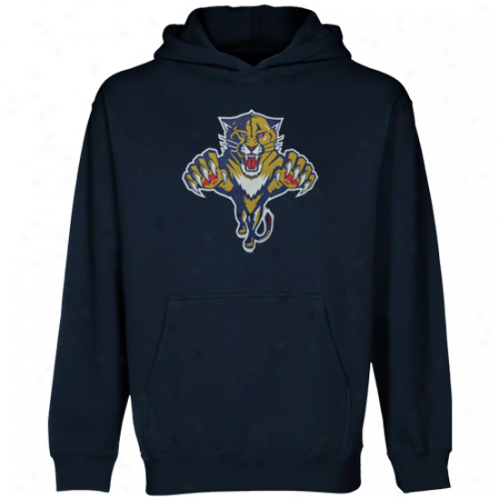 Old Time Hockey Florida Panthers Youth Navy Blue Big Logo Pullover Hoodie Sweatshirt