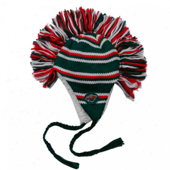 Old Time Hockey Minnesota Impetuous Green-red Mohawk Tassel Knit Beanie