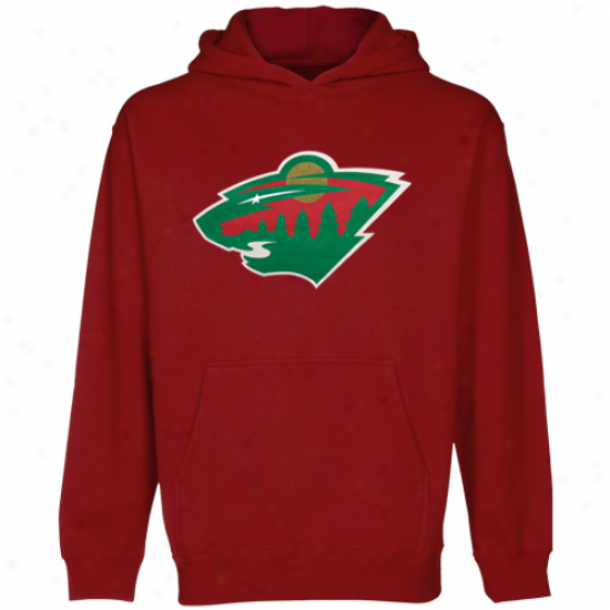 Old Time Hockey Minnesota Wild Red Big Primary Logo Pullover Hoodie Sweatshirt