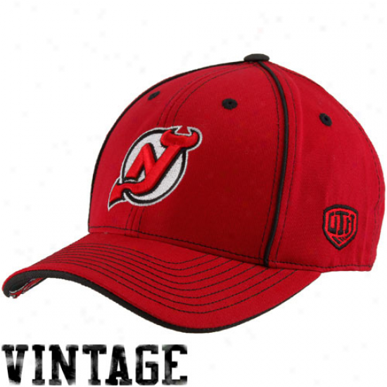 Old Time Hockey New Jersey Devils Red Aster Adjustable Hat