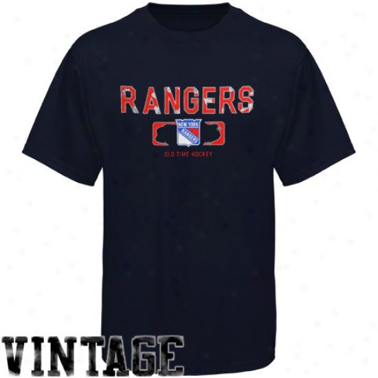 Old Time Hockey Nrw York Rangers Trailer T-shirt - Navy Blue