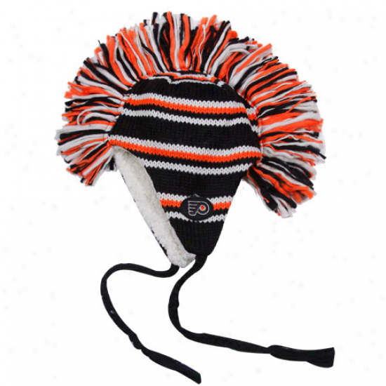 Old Time Hockey Philadelphia Flyers Black-orange Mohawk Tassel Knit Beanie