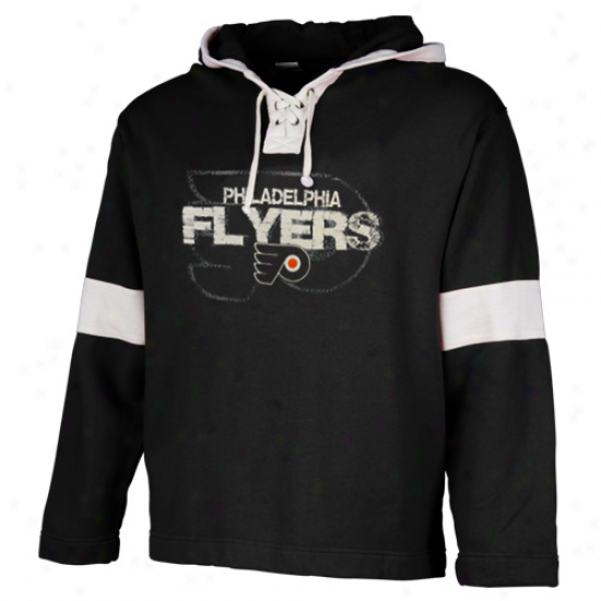 Old Time Hockey Philadelphia Flyers Youth Black Orton Lace-up Pullover Hoodie Sweatshirt