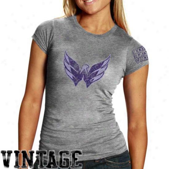 Old Time Hockey Washington Capitals Ladies Ash Hockey Fights Cancer Tri-blend T-shirt