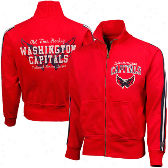 Ole Time Hockey Washington Capitals Red Castle Full Zip Track Jacket