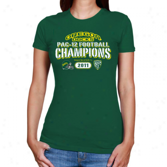 Oregon Ducks Ladies 2011 Pac-12 Football Champions T-shirt - Green