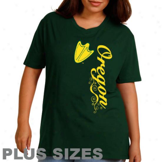 Oregon Ducks Ladies Dolly Glitter Plus Sizes T-shirt - Unripe