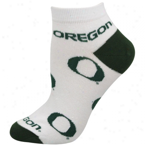 Oregon Ducks Ladies White Allover Logo Ankle Socks