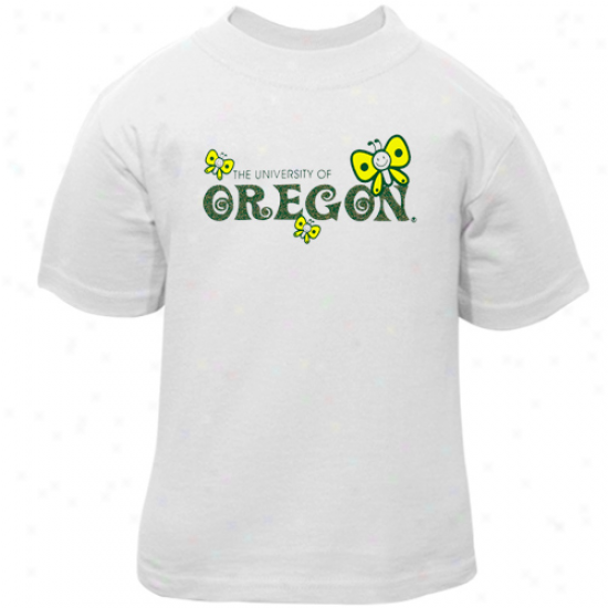 Oregon Ducks Toddler Girls Butterfly T-shirt - White