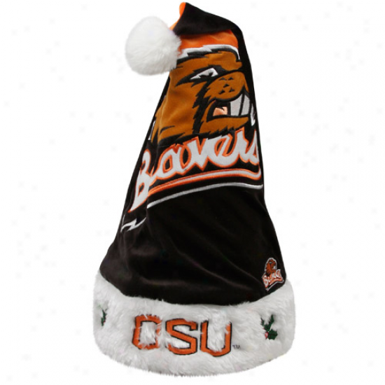 Oregon State Beavers Black-orange Runoff Color Block Santa Hat