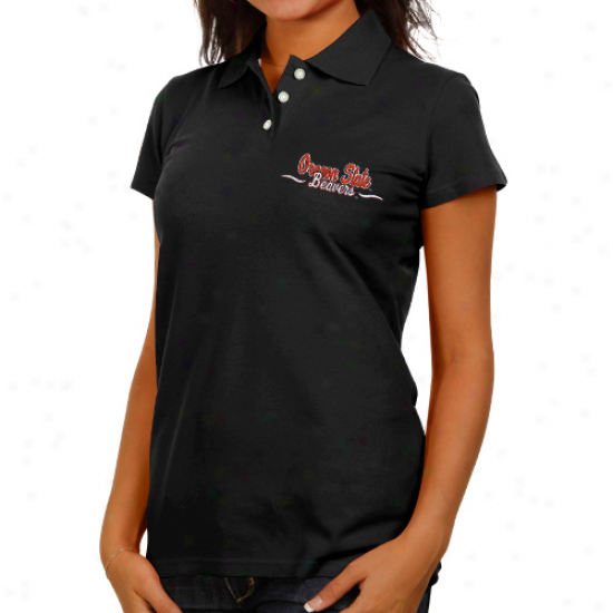 Oregon State Beavers Ladies Black Ivy League Polo
