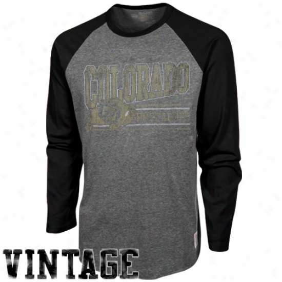 Original Retro Brand Colorado Buffaloes Long Sleeve Raglan Premium Tri-blend T-shirt - Ash-black