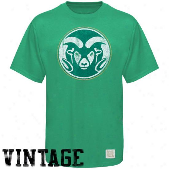 Original Retro Brand Colorado State Rams Grene Vintage Premium Crew Neck T-shirt