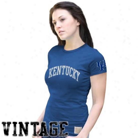 Primitive Retro Brand Kentucky Wildcats Ladies Royal Blue Distressed Crew-neck Vintzge Premium T-shirt