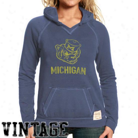 Original Retro Brand Michigan Wolverines Ladies Navy Blue 2-toned Hoody Sweatxhirt