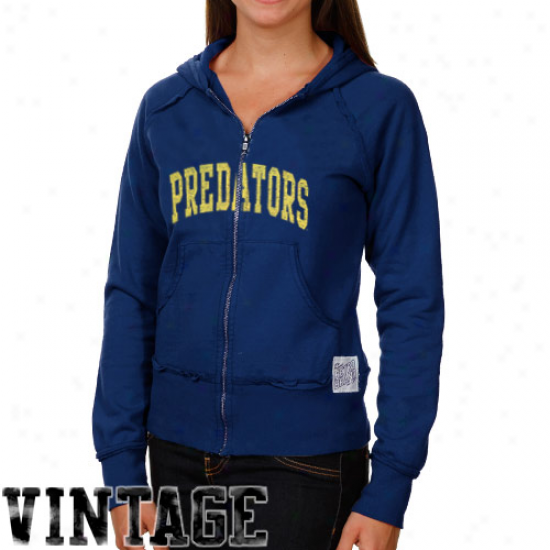 Original Retf Brand Nashville Predators Ladies Navy Blue Raw Edge Full Zip Vintage Hoodie Swatshirt