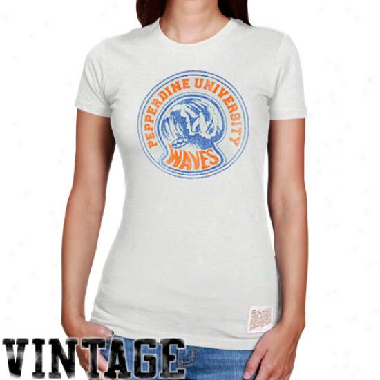 Original Retro Brand Pepperdine Waves  Ladies Cream Vintage Reward Crew Neck T-shirt