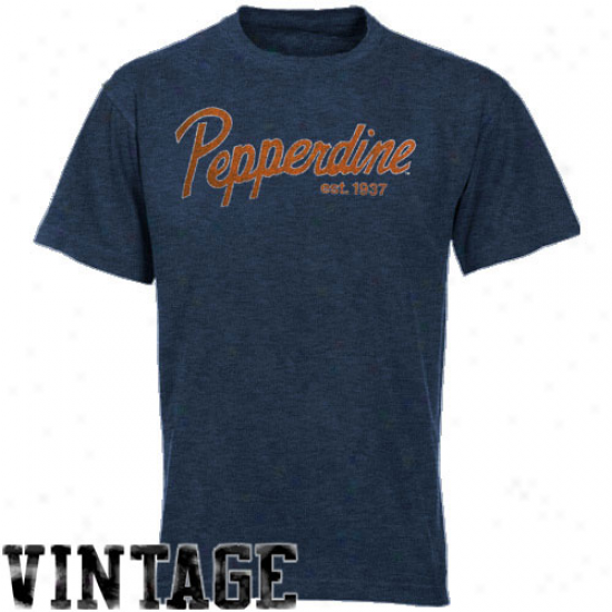 Original Retro Brand Pepperdine Waves Melange Vintage Preium Tri-blend T-shirt - Navy Blue